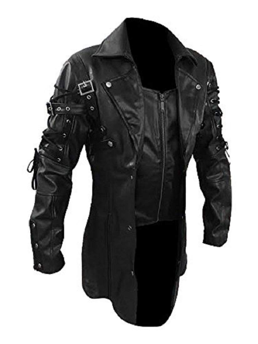 Mens Real Black Faux Leather Coat Goth Matrix Trench Coat Steampunk Gothic 3