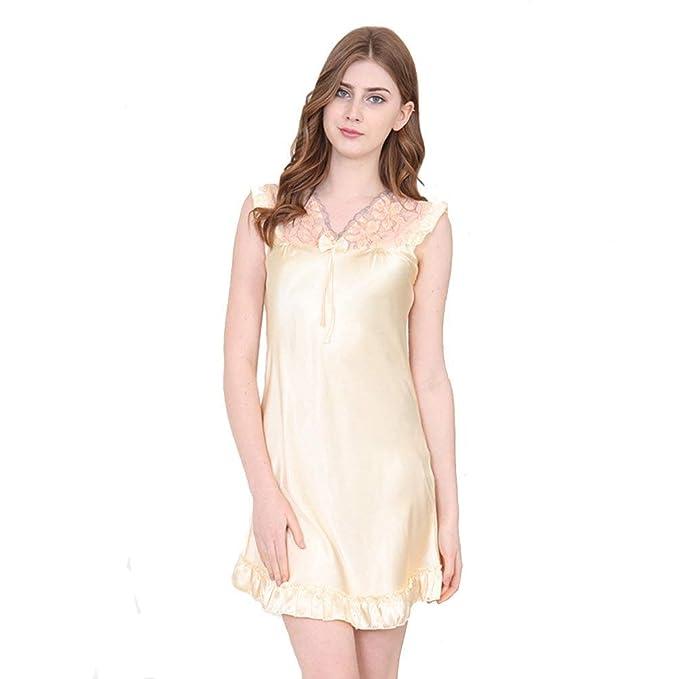 4692be2118 Vestido De Dormir De Camisón para Damas Pijama Vestido Casuales Mujeres De  Camisón para Mujer Vestido De Satén con Cuello Redondo ...