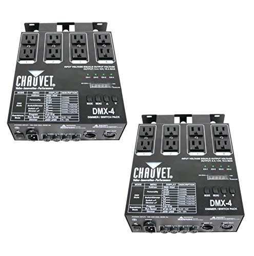 - 2 CHAUVET DMX-4 4 Channel DMX-512 DJ Dimmer/Switch Relay Pack Light Controllers
