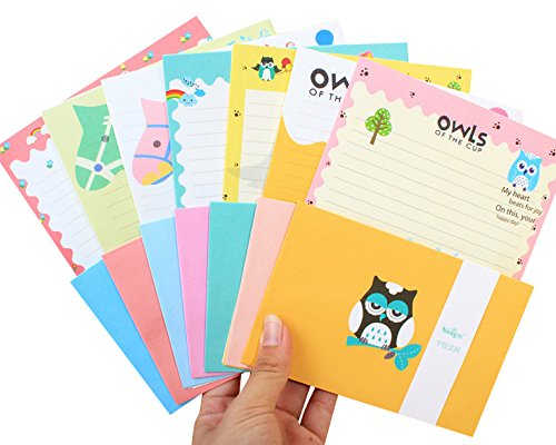 32 Cute Kawaii Lovely Owl Design Writing Stationery Paper with 16 Envelope