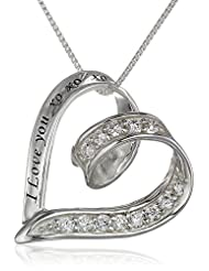 """Sterling Silver Cubic Zirconia Ribbon Heart """"I Love You XOXO"""" Pendant Necklace, 18"""""""