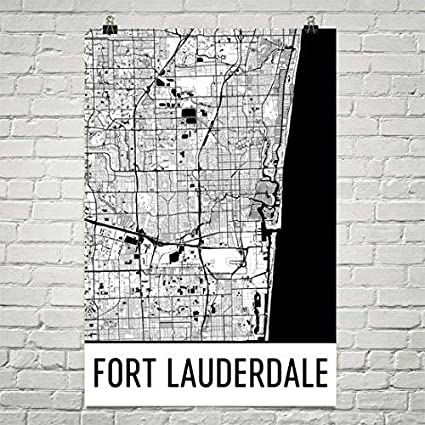 Ft Lauderdale On Map Of Florida.Amazon Com Fort Lauderdale Map Ft Lauderdale Art Fort Lauderdale
