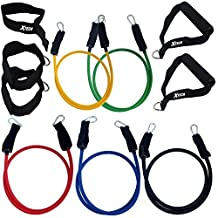 Xtech XH-RBS100 11pc Resistance Band Set with 5 High Quality Combinable Bands, 2 Foam Handles, 2 Ankle Straps, 1 Door Anchor, & Case for Muscle Building exercise, Weight Loss, ABS, Rehab, & Yoga
