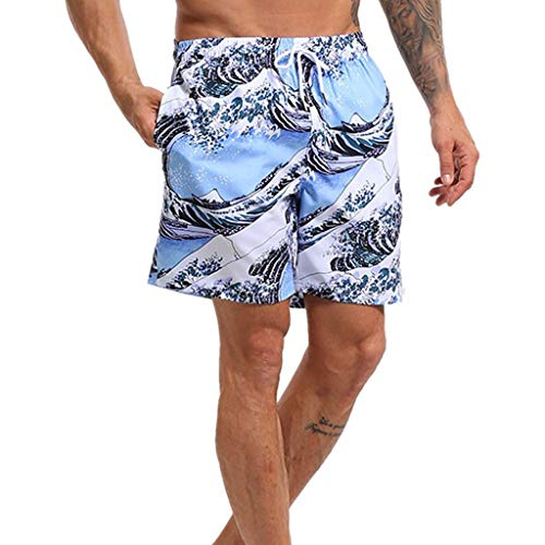 Casual Mens Swim Trunks Quick Dry Printed Beach Shorts Summer Hawaiian Surf Boardshorts with Mesh Lining White swim shirts for fat guys 4