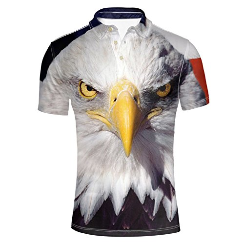 Instantarts HUGSIDEA Cool American Flags and Bird Pattern Polos Top Shirt for Mens Short Sleeve Fashion Tee XL