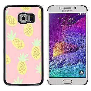 Piña Dibujo Cannabis humo 420- Metal de aluminio y de plástico duro Caja del teléfono - Negro - Samsung Galaxy S6 EDGE (NOT S6)