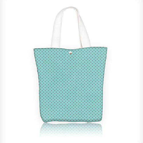 Women's Canvas Tote Bag, Pop Art Pin Up Theme Inspired Polka Dots Print Hot Pink and Baby Blue Ladies Top-handle Handbags, work school Shoulder Bag W11xH11xD3 INCH