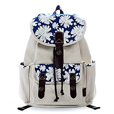 well-wreapped DGY Girls Casual Style Rucksack Floral Print Canvas Backpack for Women School Daypack