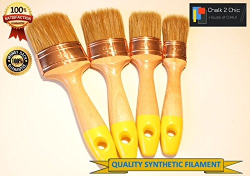 #WS4 - SET OF 4 - CHALK PAINT professional furniture painting , wood dyeing and staining SHABBY CHIC OVAL BRUSHES mix bristle BRUSH annie (Shabby Paint Chic)