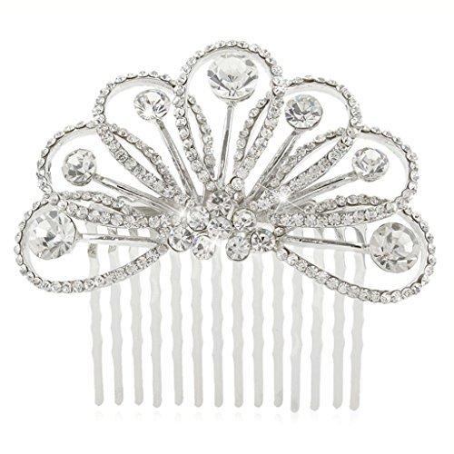 Ever Faith - Peigne à cheveux Autrichien Cristal Larme Fleur élégant Mariage N03682-1