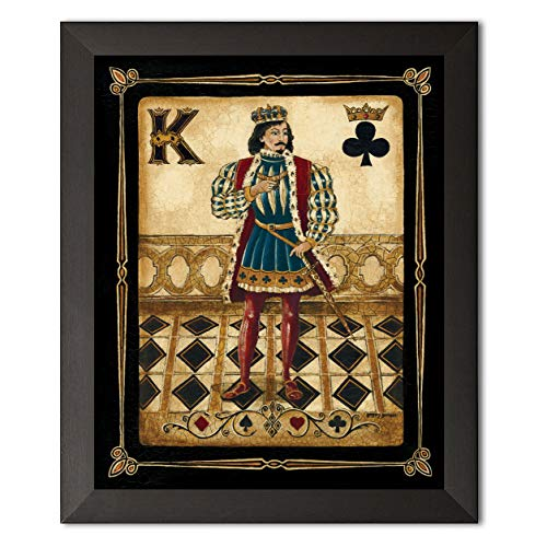 PosterArtNow Framed Harlequin King - Mini Durable Spade Retro Vintage Pair Awesome Classic Poker Clubs 8x10