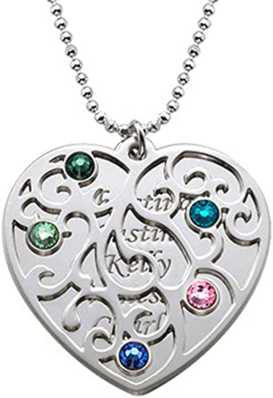 Shiny Alice Family Tree of Life Necklace Custom Name Birthstones Pendants Silver 925 Chain Vintage Necklaces Jewelery for Mom Grandmother