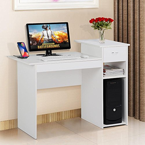 Yaheetech White Compact Computer Desk Study Writing Table Workstation with Drawer and Shelf for Small Spaces Home Office Furniture