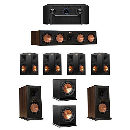 Klipsch-72-Walnut-System-with-2-RP-150M-Monitor-Speakers-1-RP-450C-Center-Speaker-4-Klipsch-RP-250S-Ebony-Surround-Speakers-2-Klipsch-R-110SW-Subwoofer-1-Marantz-SR7011-AV-Receiver