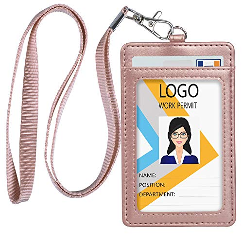 Leather ID Badge Holder, Vertical PU Leather ID Badge Holder with 1 Clear ID Window & 1 Credit Card Slot and a Detachable Neck Lanyard (Rose -