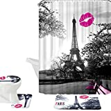 Bathroom Sets with Shower Curtain Amagical 16 Piece Chic Grey Paris Eiffel Tower Waterproof Shower Curtain Set Bath Mat Set Contour Mat Toilet Cover Peach Kiss Lips Printed Polyester Fabric Curtain with 12 Hooks