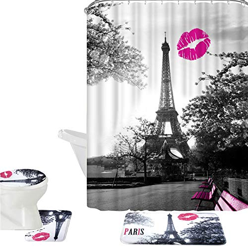 Amagical 16 Piece Chic Grey Paris Eiffel Tower Waterproof Shower Curtain Set Bath Mat Set Contour Mat Toilet Cover Peach Kiss Lips Printed Fabric Curtain with 12 Hooks (Chic Grey Paris Tower)