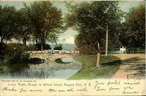 Rustic Bridge To Willow Island Niagara Falls, New York Original Vintage Postcard
