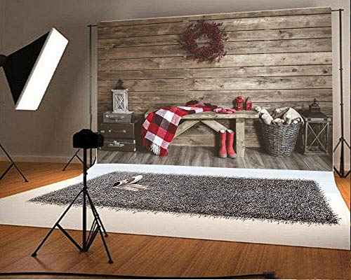 CdHBH 10x6.5ft Vinyl Backdrop Winter Home Decoration Photography Background Christmas Rustic Interior Farmhouse Style Vintage Barn Scarf Boot Old Lantern Wreath Wooden Wall Floor Stripe Backdrop ()