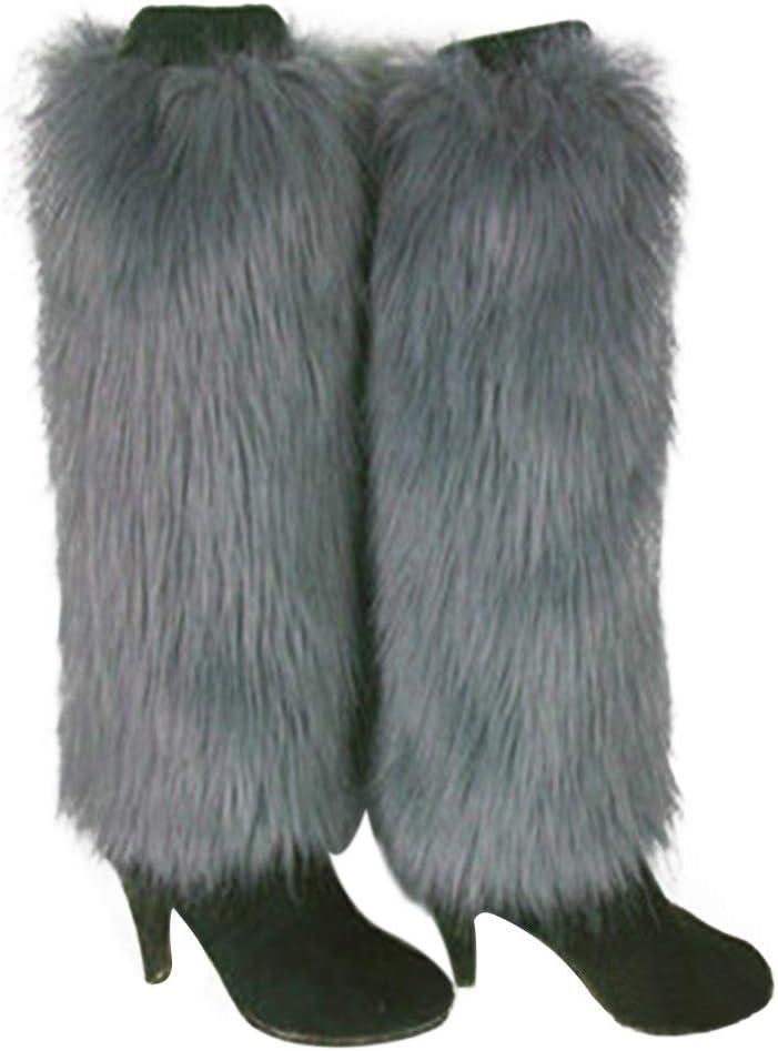 AchidistviQ Invernale Moda Donna per Bagagliaio Furry Colore Solido in Finta Pelliccia Morbida Scaldamuscoli in Pelliccia Sintetica Scarpe di Gamba di Calze Lunghe Pelliccia Ecologica 15 cm Grey