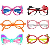 Eye Glasses for Children Kids Boys Girls Stylish Cute Frame Without Lenses, Pack of 6