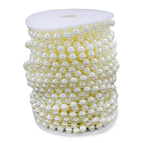 (Wispun 8mm Large Ivory Pearls Faux Crystal Beads by The Roll for Flowers Wedding Party Decoration (Ivory))