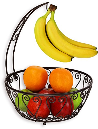 (SimpleHouseware Fruit Basket Bowl with Banana Tree Hanger, Bronze)