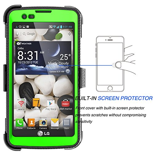LG Escape 3 Case, LG Phoenix 2 Case, LG Treasure LTE Case, Tekcoo [TShell] [Green] Shock Absorbing [Built-in Screen Protector] Holster Locking Belt Clip Defender Heavy Cover For LG K7/ K8/ Tribute 5 by Tekcoo (Image #2)