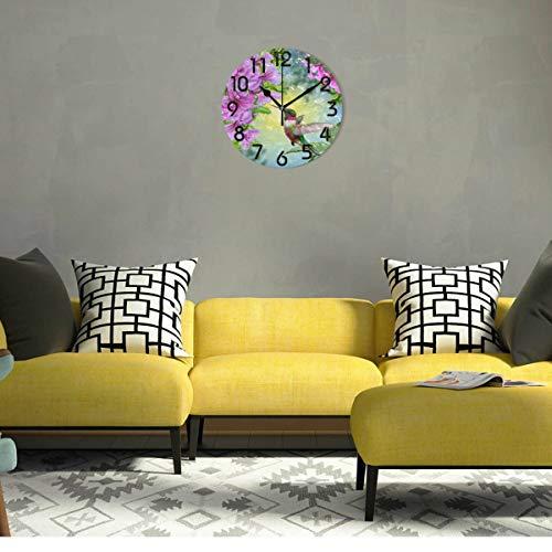 Naanle Flowers Print Clock Decor, Battery Quartz Analog Quiet Home,Office,School