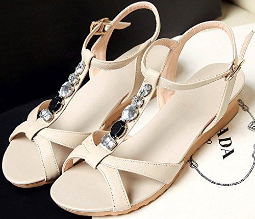 Laruise Women's Leather Wedge Sandal Beige tY1qLhkQW