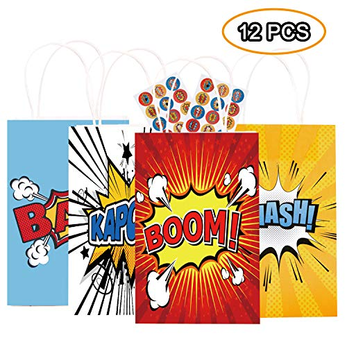 Happy Storm Super hero Party Bags Hero Birthday Party Supplies Favor for Kids Goodie Bags Including 12 PCS Bags 30 PCS Free Stickers Good for Filling with Candies Toys Gifts Baby Shower Party Favors Sets 4 Designs -