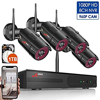 Image of 1080P Wireless Home Security Camera System Outdoor,8CH 1080P HD NVR Wireless CCTV Surveillance Systems WiFi NVR Kits with 4Pcs 960P Wireless IP Cameras,Expand Up to 8pcs Cams,1TB Hard Drive by ANRAN Surveillance DVR Kits