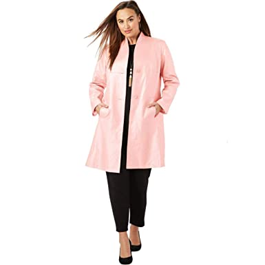 16fa8597b52 Jessica London Women s Plus Size Leather Swing Coat - Pearlized Soft Blush