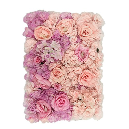 - MonkeyJack Silk Roses Hydrangea Artificial Flower Wall Panels Wedding Home Wall Hanging Decoration Gradient Color Type B - Gradient Color B #6