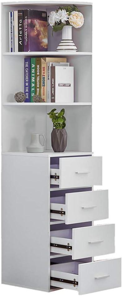 Boju Living Room Bookcase White Tall Cabinet With 4 Drawers 3 Shelves Corner Wood Bathroom Unit Storage Cabinet Cupboard Sideboard Slimline Amazon Co Uk Kitchen Home
