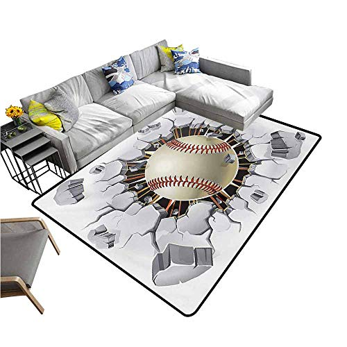 Home Bedroom Floor Mats Sports,Baseball and Old Plaster Concrete Wall Damage Illustration Competition,Ivory Pale Grey Orange 48