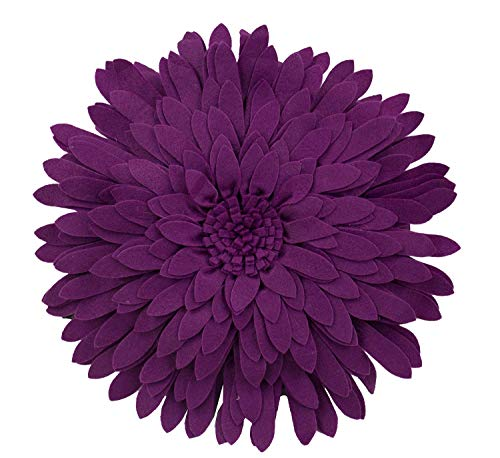 Elegant 3D Sunflower Throw Pillow - Round 13 x 13 Decorative Throw Pillow - Plum Purple Sunflower Pillow for Couch, Bedroom And Living Room Decor - Sunflower Decorative Pillows With -