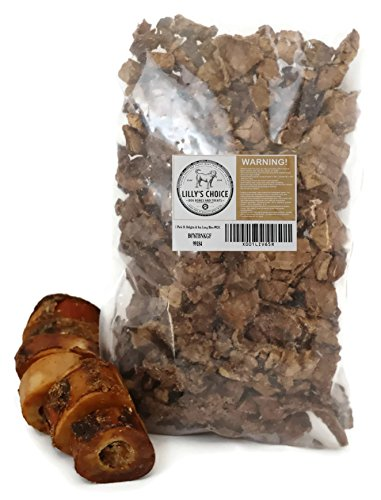 Lilly's Choice Dog Bones and Treats with Bone Marrow - Made in USA Only - Long Lasting Natural Grass Fed Beef Femur Chews - Best for Small Dogs (1 Pk of 6 Slices & 8 oz Bag of Lung Bites Treats) Dog Bone Arm