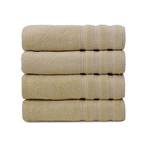 Turquoise Textile, 100% Soft Turkish Cotton Luxury and Eco-Friendly Bath Towel Set for Home, Hotel & Spa, Made in Turkey (Set of 4) (Cream)