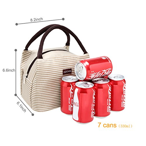 OZCHIN Insulated Lunch Bag for Women Compact Reusable Lunch Tote Cooler Bag Handbag for Adults Kids Students (Creamy Beige) by OZCHIN (Image #2)