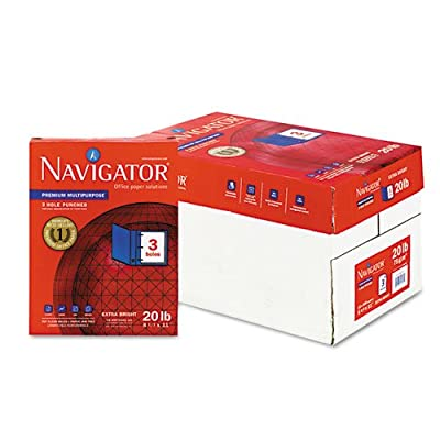 Navigator® - Premium Multipurpose Paper, 97 Brightness, 3-Hole Punch, 20lb, Ltr, WE, 5000/Ctn - Sold As 1 Carton - Ideal for everyday printing in virtually all office equipment.