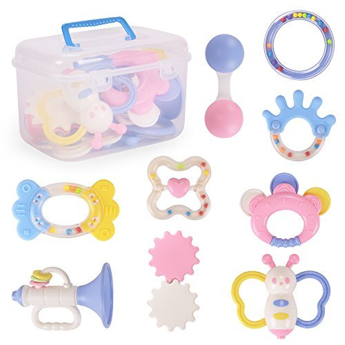 NextX baby Toys Rattles and Teethers Educational Infants Musical Gift Set with Storage case a Pack of 9