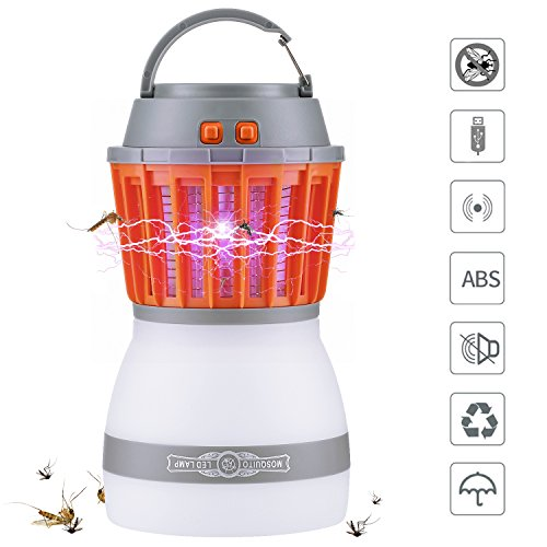 Karvipark [2018 Newest Version] Bug Zapper 2 In 1 Night LED Light Bulb Lamp & Mosquito Zapper Repellent| Waterproof,Compact, 2200mAh Rechargeable & Portable| For Indoor & Outdoors, Home & Traveling