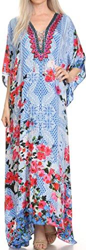 Sakkas SS1689 KF5096LAT - LongKaftan Georgettina Ligthweight Printed Long Caftan Dress/Cover Up - Blue/Red/Black -OS ()
