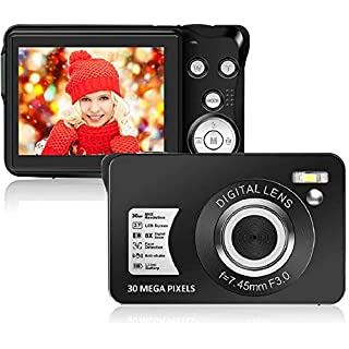 30 MP Digital Camera,Support 128GB SD Card(Not Included), 2.7 Inch 1080P HD Mini Camera Point and Shoot Students Digital Camera for Kids Teenagers Beginners