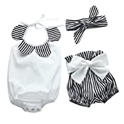 IEason Newborn Infant Baby Girl Striped Romper Tops+Bow Shorts Pants Outfit Clothes Set (0-6 Months, White)