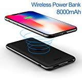 iWALK Qi Wireless Charger Dual USB Power Bank 8000mAh Slim Portable Charging Pad External Battery Pack For iPhone X/8/8 Plus,Samsung Galaxy S9/S8/S7/S6 Edge+/Note8 all Mobile Phone Qi-enabled