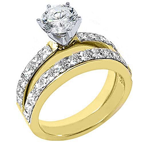 Semi Mount Invisible Set Gold - 18k Yellow Gold Princess Diamond Engagement Ring Semi Mount Set 1.89 Carats