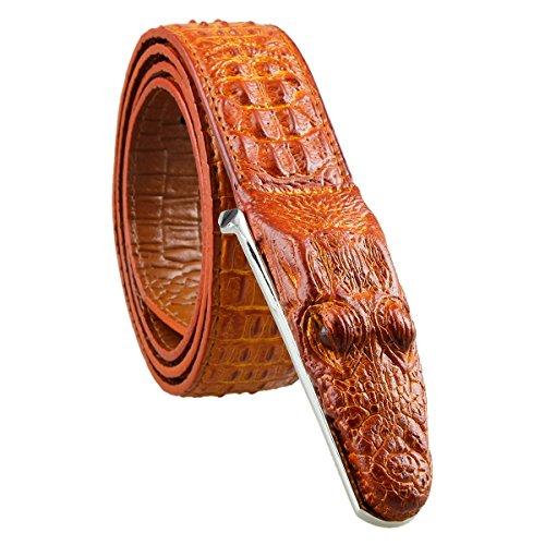 [Samtree Mens Adjustable Leather Belt Embossed Alligator Plaque Buckle(Brown)] (Crocodile Belt Strap)