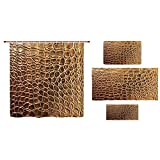 iPrint Bathroom 4 Piece Set Shower Curtain Floor mat Bath Towel 3D Print,Crocodile Skin Nature Life Toughness High End,Fashion Personality Customization adds Color to Your Bathroom.